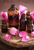 essential oil and rose flowers aromatherapy spa perfumery poster