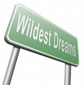 Wildest dreams make dreams come true realize your ambition 3D illustration, isolated, on white poster