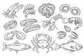 Hand drawn Seafood set. Decorative icons Squid, Octopus, salmon, oysters, scallops, lobster, red perch , crab, shellfish and mussels. Vector illustration in old ink style poster