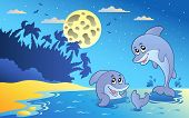 Night seascape with two dolphins - vector illustration. poster