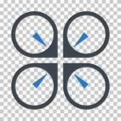 Hover Drone EPS vector pictograph. Illustration style is flat iconic bicolor smooth blue symbol. poster