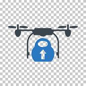 Load Cargo Drone EPS vector pictograph. Illustration style is flat iconic bicolor smooth blue symbol. poster