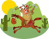 American Indian riding a wild horse (vector illustration); poster