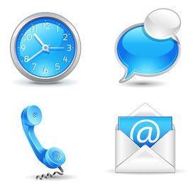 icônes de bureau - horloge, combiné, messagerie, chat