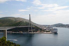 View of Dubrovnik Franjo Tudjman bridge and cruise port. Croatia