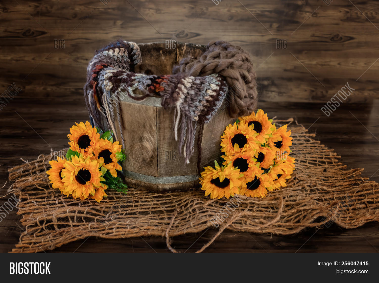 Setup with flowers for newborn photography