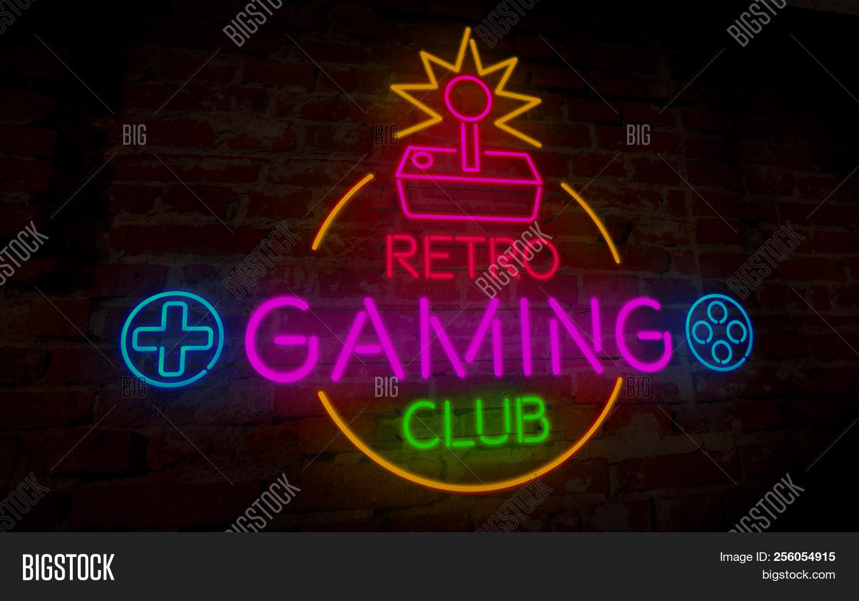 Gaming Retro Club Neon Image Photo Free Trial Bigstock