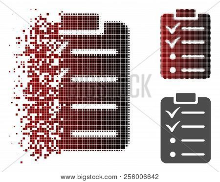 Todo List Icon In Dissolved, Pixelated Halftone And Undamaged Solid Versions. Particles Are Arranged