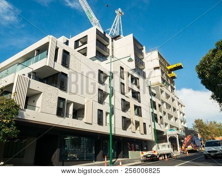 Melbourne, Australia - June 1, 2016: Construction Of Medium-rise Apartments On Station Street In Box