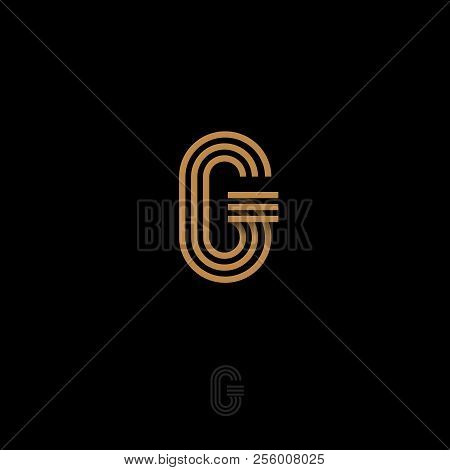 G Letter. R Monogram Consist Of Gold Lines, Isolated On A Dark Background. Monochrome Option.
