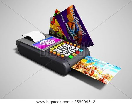 Modern Nfs Payment On Payment Card Pos-terminal With Credit Card Inside And Outside The Left View 3d