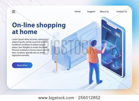 Isometric Shopping Home. Ecommerce Sales, Online Shopping, Digital Marketing. Sale, Consumerism Conc