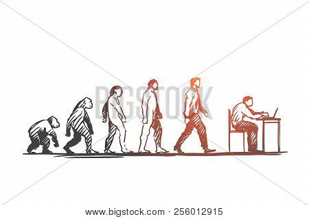 Evolution, Businessman, Programmer, Primitive Concept. Hand Drawn Figures Of Primates And Humans, Ev