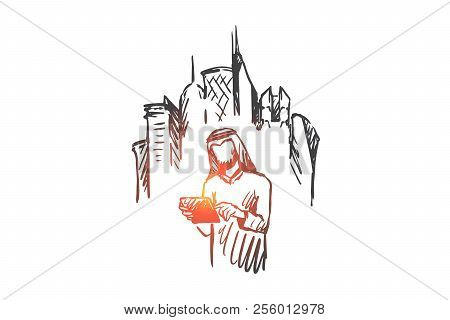 Gadgets, Big City, Megapolis, Businessman, Muslim Concept. Hand Drawn Muslim Man With Gadget In Hand