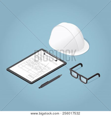Isometric Concept Home Inspection. Working Tools. Glasses, Helmet, Clipboard. Production Safety. Vec