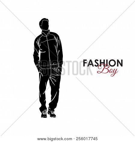 Fashionable Guy. Fashion. Silhouette Of A Guy. The Guy In A Sports Suit