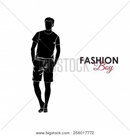 Fashionable Guy. Fashion. Silhouette Of A Guy. The Guy In Bermudas And A T-shirt
