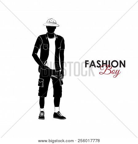 Fashionable Guy. Fashion. Silhouette Of A Guy. A Guy In A T-shirt, Shirt, Cork Cap And Shorts With P