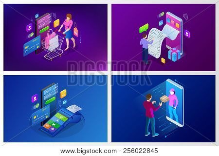 Isometric Fast Delivery Service, Online Delivery, Online Shopping, Finance Instrument Web Banner Con
