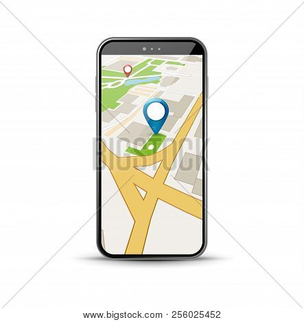 Mobile Gps Navigation Application. 3d Map Vector Application For City Gps Route Smartphone App..