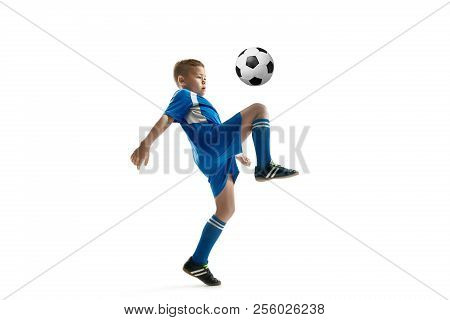 Young Boy With Soccer Ball Doing Flying Kick, Isolated On White. Football Soccer Players In Motion O