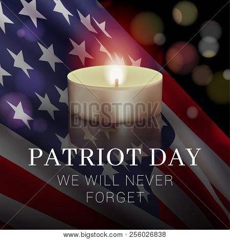 Vector Banner Design Template With American Flag, Candle And Text On Dark Background For Patriot Day