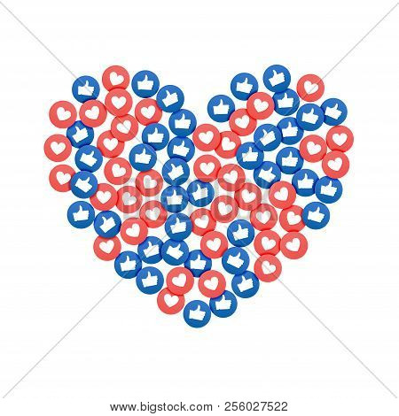 Social Network Marketing Like And Heart Icon In Heart Shape. Application Social Media Background Adv