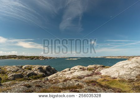 Sea Landscape Of A Rocky Coastline On The South Of Sweden. Southern Coastline Of Sweden With View At