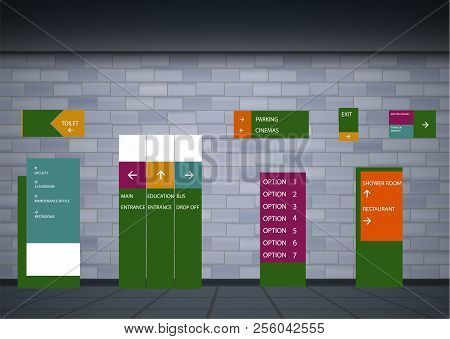 Set Signage.direction,pole, Wall Mount And Traffic Signage System Design Template Set.exterior And I