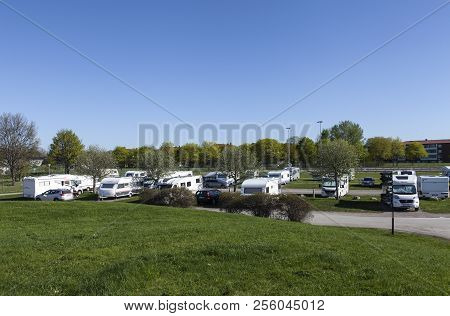 Uppsala, Sweden On May 10. View Of Caravans, Campers And Cars In Fyrishov Camping On May 10, 2018 In