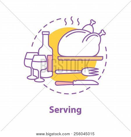 Serving Concept Icon. Holiday Dinner Or Supper Idea Thin Line Illustration. Thanksgiving Turkey. Vec