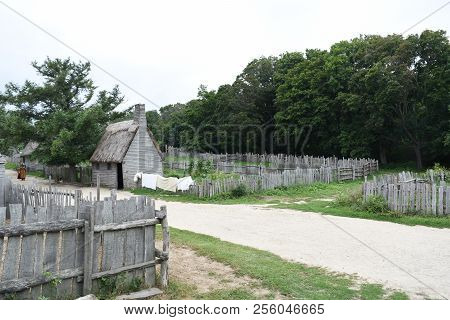Plimoth Plantation Colonial Village With Laundry Drying