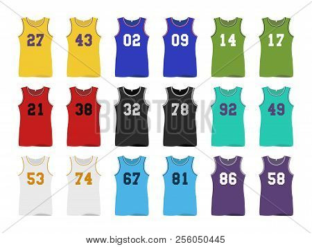 Basketball Sport Jerseys, Nine Color With Numbers