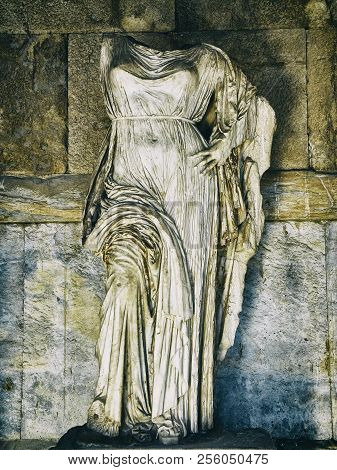 Sculpture Of Aphrodite In The Porch Of The Stoa Of Attalos Building At The Ancient Agora Of Athens.