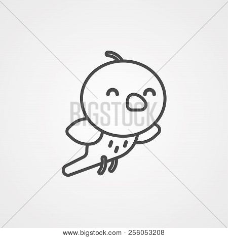 Bird Icon Vector, Logo Illustration Design. Symbol Or Mascot. Flat, Cute.