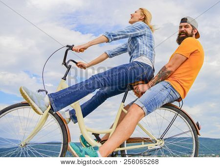 Man And Woman Rent Bike To Discover City. Bike Rental Or Bike Hire For Short Periods Of Time. Couple