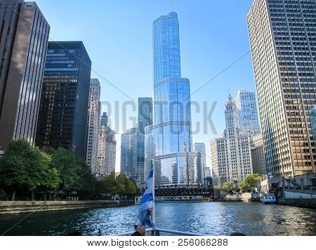 Chicago, Usa - June 21, 2017: Chicago Is The City Of Skyscrapers. Chicago Streets, Buildings And Att
