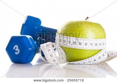 아령, 신선한 녹색 사과 측정 테이프