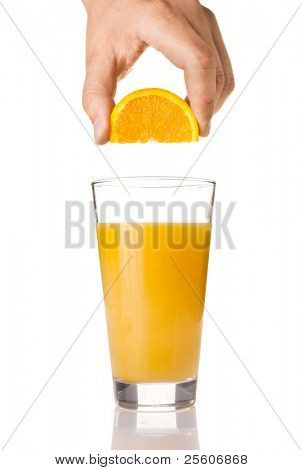 Fresh orange juice in a glass poster