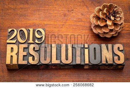 2019 resolutions word abstract in vintage letterpress wood type again st rustic wooden board with a pine cone