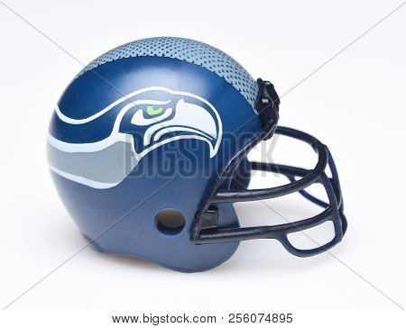 Irvine, California - August 30, 2018: Mini Collectable Football Helmet For The Seattle Seahawks Of T