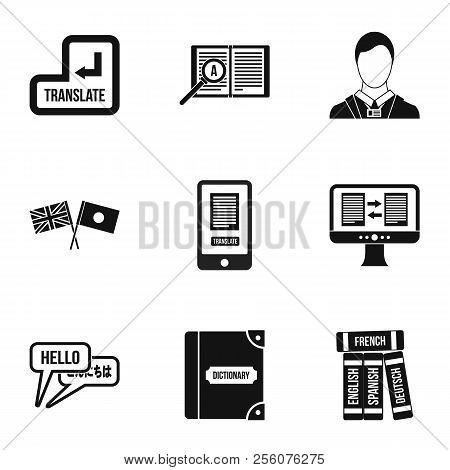 Foreign Language Icons Set. Simple Illustration Of 9 Foreign Language Icons For Web