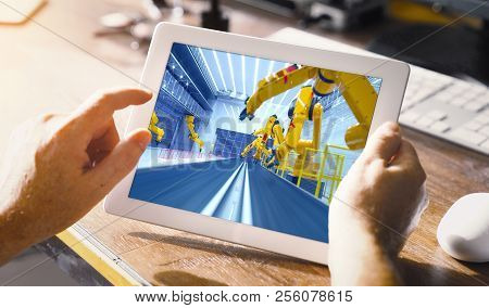 Smart Factory, Modern Automated Production Plant With Robot Arms On Tablet Pc In Office - Industry 2