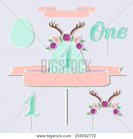 Vector set with Deer headband, Antler, number one. Handwritten lettering One. Deer symbols as patch, stick cake topper, sticker, drink topper. Props for First Year Baby Anniversary, Birthday party. poster