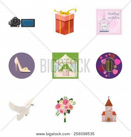 Marriage Ceremony Icons Set. Cartoon Illustration Of 9 Marriage Ceremony Icons For Web