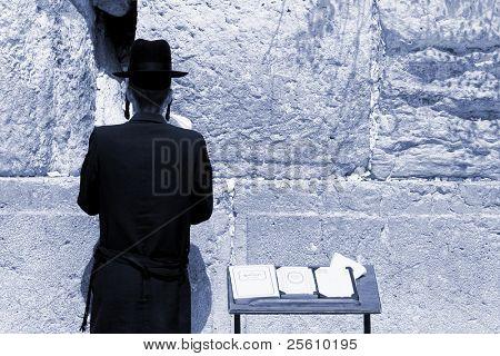 young hasidic jew at the wailing western wall, jerusalem, israel