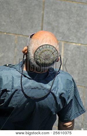 man wearing jewish kippa, jerusalem, israel