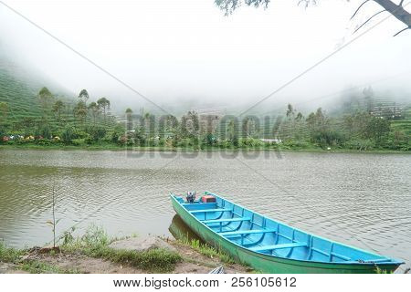 view of the Dieng color lake exoticism poster