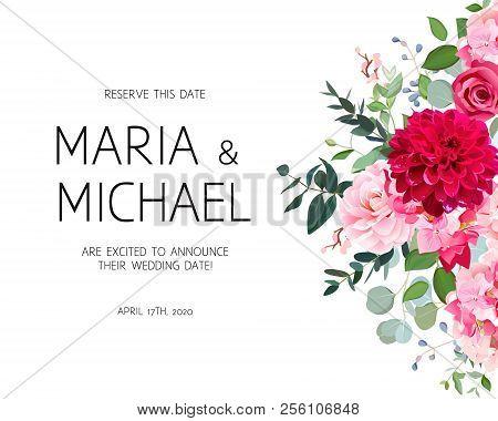Wedding Vector Design Frame. Burgundy Red Dahlia, Rose, Camellia, Hydrangea, Pink Flowers, Silver Do