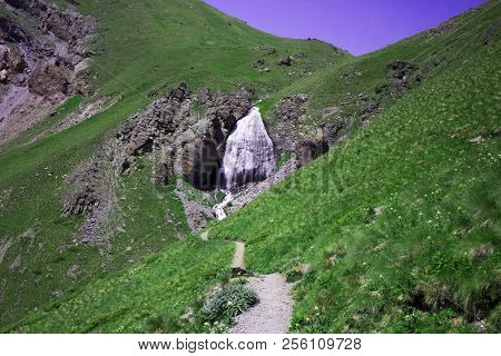 Pastoral View On Waterfall Girlish Braids In Valley Near Elbrus